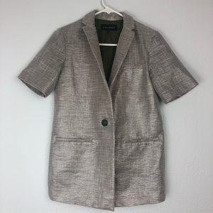 Laveer short sleeve boyfriend blazer gray nylon